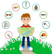 Cartoon traveler with a large backpack Stock Illustration