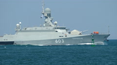 Russian missile boat with missiles Caliber at sea Stock Footage