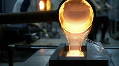 Melted Glass being Poured into a Mold Stock Footage