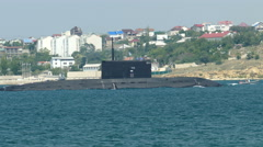 Missile submarine returned to the military base Stock Footage