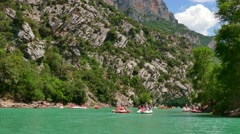 Kayak Canoe Boat Fun Gorges Du Verdon Canyon River France Stock Footage