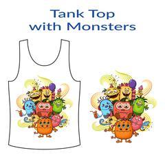 Cartoon Monsters Group Stock Illustration