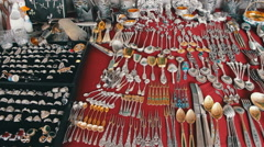Antique Tableware, Vintage Silver, Iron and Gold Tableware Stock Footage