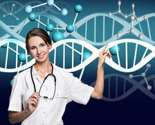 Doctor in white coat and dna molecule formula Stock Photos