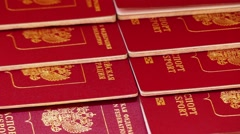 Foreign passports of Russian Federation Stock Footage