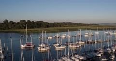 Lymington Harbour Aerial Stock Footage