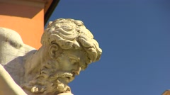 Zoom Out of Neptune God Statue in Rome Stock Footage