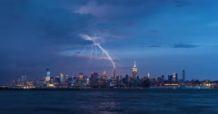 Evening storm and lightning in New York City over Midtown Manhattan skyscrapers Stock Footage