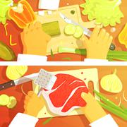 Cooking Of Salad And Steak Two Bright Color Illustrations Stock Illustration