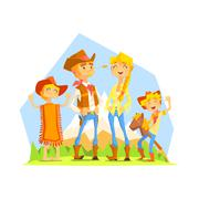 Family Dressed As Cowboys With Mountain Landscape On Background Stock Illustration