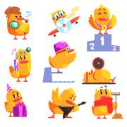 Duckling Different Activities Set Of Cool Character Stickers Stock Illustration