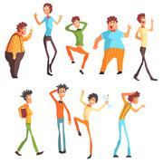 Flamboyant Know-it-all Character Set Stock Illustration