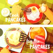 Pancakes Cooking Two Bright Color Illustrations Stock Illustration