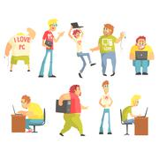 Professional Programmers Funny Characters Set Stock Illustration
