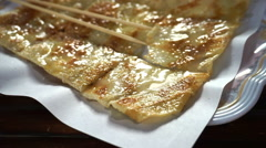 Thai popular street food, sweet crispy pancake roti serving in plate Stock Footage