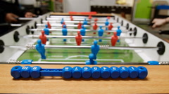 Kicker table football soccer. Baby-foot game Stock Footage