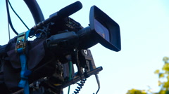 Camera on the camera crane in motion, close-up Stock Footage