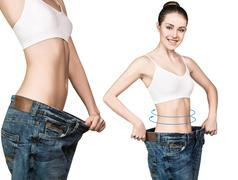Body with the arrows and in oversize jeans Stock Photos
