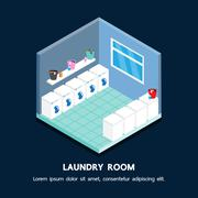 Laundry shop isometric vector perspective design. Stock Illustration