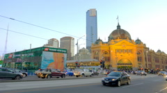 Moving shot of downtown Melbourne near Flinders Street Station Stock Footage