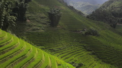 House in the rice terraces valley panorama view of Sapa Vietnam Stock Footage