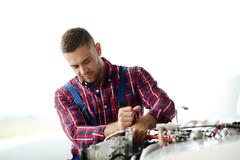 Fixing parts of engine Stock Photos