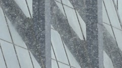 Background. Winter. Is thick snow on the background of the mirrored Windows. Stock Footage
