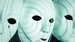 Masks scary hypnotic spiral Stock Footage