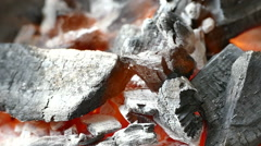 Burning coal. Close up of red hot coals glowed in the stove Stock Footage