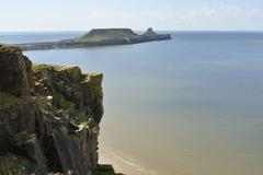 Worms Head on Gower Peninsular, Wales, UK Stock Photos