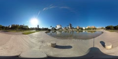 360 view from the turia gardens and the Berklee College of Music Stock Footage
