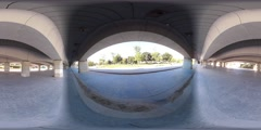 360 view from under a bridge Stock Footage