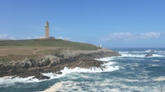 The Tower of Hercules in A Coruna, Spain. Stock Footage