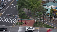 Timelapse of crossroad traffic in Seoul, South Korea Stock Footage