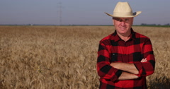 Happy Farmer Stay Straight Looking to Camera Proud About His Farm Wheat Culture Stock Footage
