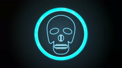 Bluish Skull Icon with digital code Stock Footage