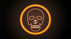 Orange Skull Icon with digital code Stock Footage