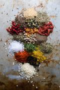 Abundance of color spices Stock Photos