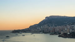 Monaco, Monte-Carlo landscape with ocean in the evening timelapse Stock Footage