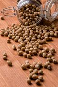 Chickpeas in glass jar Stock Photos