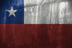 Metal texutre or background with Chile flag Stock Photos