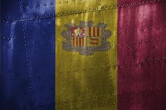 Metal texutre or background with Andorra flag Stock Photos