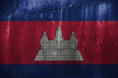 Metal texutre or background with Cambodia flag Stock Photos