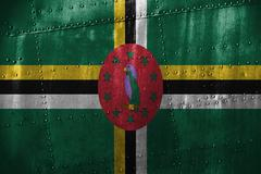 Metal texutre or background with Dominica flag Stock Photos
