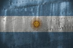 Metal texutre or background with Argentina flag Stock Photos
