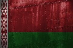 Metal texutre or background with Belarus flag Stock Photos
