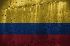 Metal texutre or background with Colombia flag Stock Photos