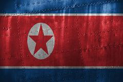 Metal texutre or background with DPR Korea  flag Stock Photos