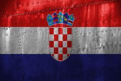 Metal texutre or background with Croatia flag Stock Photos