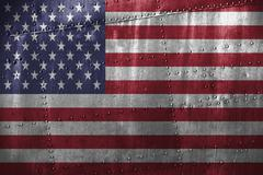 Metal texutre or background with USA flag Stock Photos